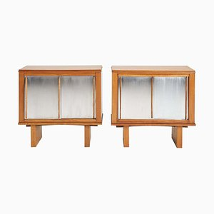 Oak and Aluminium Cabinets in the Style of Charlotte Perriand, Set of 2