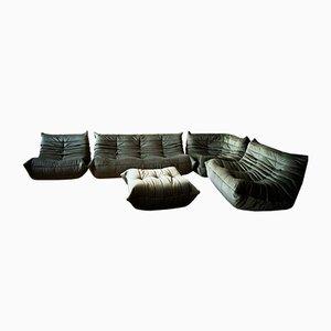 Khaki Velvet Living Room Set by Michel Ducaroy for Ligne Roset, 1970s, Set of 5