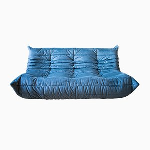 Vintage Togo Sofa mit 3 Sitzen aus Lazure Blue Samt von Michel Ducaroy für Ligne Roset