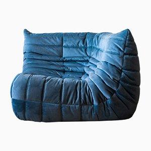 Canapé d'Angle Togo Lazure Vintage en Velours Bleu par Michel Ducaroy pour Ligne Roset