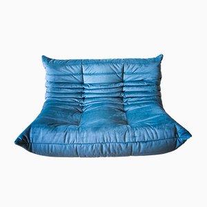 Vintage Latzure Sea 2-Sitzer Togo Sofa aus Samt von Michel Ducaroy für Ligne Roset
