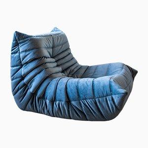 Vintage Ocean Blue Velvet Togo Lounge Chair by Michel Ducaroy for Ligne Roset