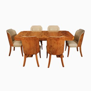 Art Deco 6 Seater Dining Table & Chairs from Epstein, Set of 7