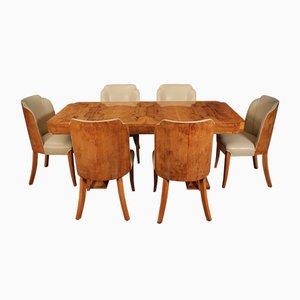 Art Deco 6-Sitzer Esstisch & Stühle von Epstein, 7er Set