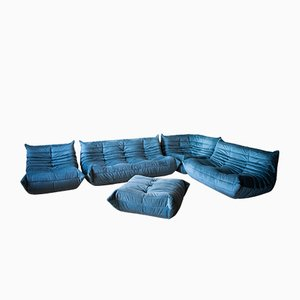 Blaues Samt Wohnzimmer Set von Michel Ducaroy für Ligne Roset, 1970er, 5er Set