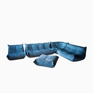Blue Velvet Living Room Set by Michel Ducaroy for Ligne Roset, 1970s, Set of 5