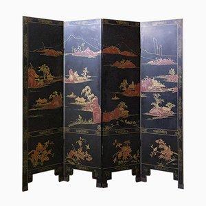 Chinesischer Schwarz Lackierter Raumteiler oder Wandschirm, 19. Jahrhundert