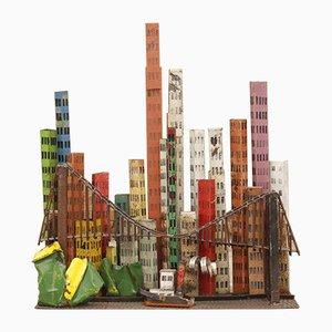 Brutalistische Vintage Skulptur aus geschweißter Stahl & lackierter Brooklyn Bridge