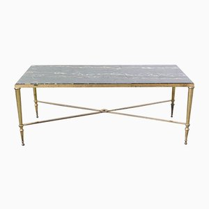 Mid-Century Coffee Table in Black Marble with Gilt Brass Edge from Maison Jansen