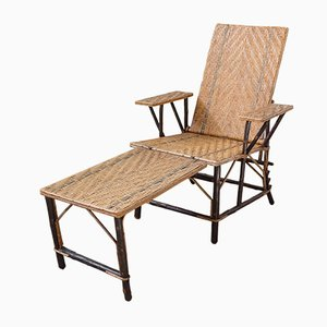 Green Striped Rattan Folding Deck Chair or Patio Lounger, France