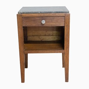 Mid-Century French Side Cabinet or Nightstand with Grey Marble Top