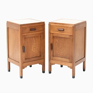 Art Deco Amsterdam School Oak Nightstands or Bedside Tables by Fa. Drilling, Set of 2
