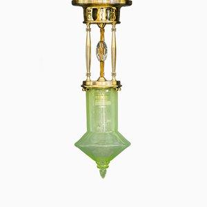 Lampada da soffitto Art Déco con paralume in vetro opalino originale, anni '20