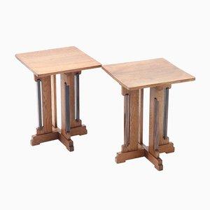 Art Deco Hague School Oak Side Tables by P.E.L. Iron Mill for Genneper Molen, Set of 2