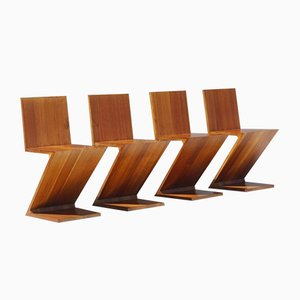 Vintage Zig Zag Elm Chairs by Gerrit Thomas Rietveld for Cassina, Set of 4