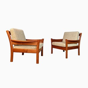Danish Teak and Wool Easy Chairs from Dyrlund, 1960s, Set of 2