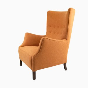 Danish High-backed Wing Chair, 1940s
