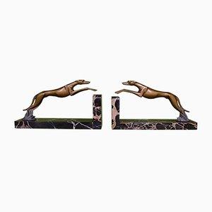 Bronze & Porto Oro Marble Greyhound Bookends, Set of 2