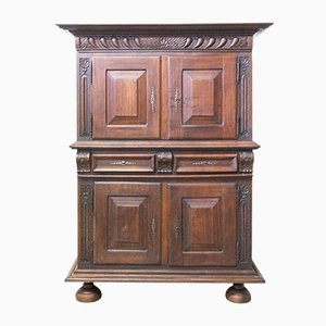 Spanish Gothic Revival Oak 2-Piece Buffet Cabinet, Late 19th Century