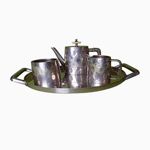 Silver Plated Hammered Coffee Set from B.E.P.W.F., Set of 4