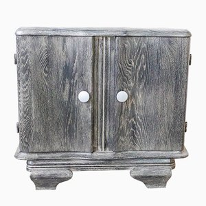 Cerused Nightstand or Side Cabinet with Marble Top, France, 1940s