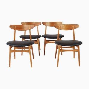 Chaises de Salon CH30 par Hans J Wegner pour Carl Hansen & Son, 1950s, Set de 4