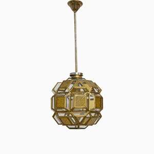 Orientalist Brass and Glass Faceted Pendant Lamp, France, 1960s
