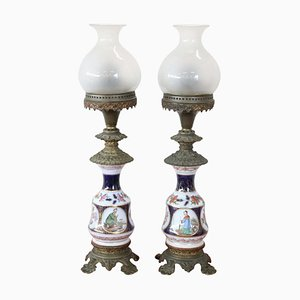 Antique Hand Painted Ceramic and Bronze Oil Table Lamps, 1880s, Set of 2