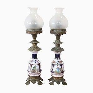 Lampade da tavolo antiche in ceramica dipinta a mano e bronzo, fine XIX secolo, set di 2