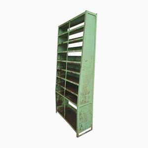 Vintage Industrial Steel Compartment Rack in Green