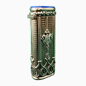 Antique Silver Lighter Case with Blue Stones and Ornaments