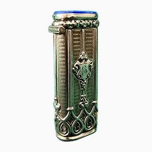 Silberner Antiker Feuerzeug Schrank mit Blauen Steinen und Ornamenten