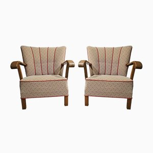 Danish Easy Chairs in Patinated Oak in the Style of Fritz Hansen, 1940s, Set of 2