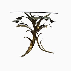 Floral Side Table in Gold and Silver, France, 1960s