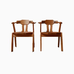 Mid-Century Brutalist Oak Dining Chairs, Set of 2