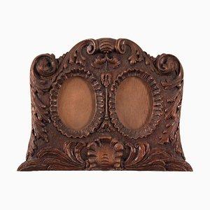 Antique Oak Double Picture Frame, 1850s