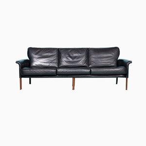 Mid-Century Black Leather 3-Seater Sofa, Denmark, 1960s