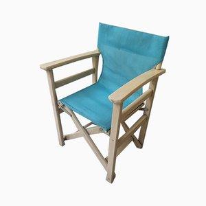 Sedia da regista pieghevole vintage in legno