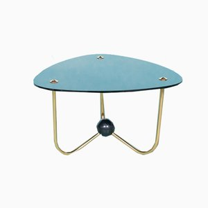 Vintage Italian Triangle Side Table in Brass & Glass, 1960s