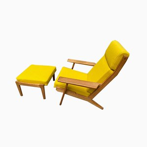 GE290 Lounge Chair and Stool by Hans J. Wegner, 1960s, Set of 2