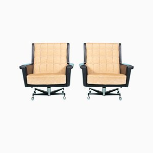 Mid-Century Executive Black Leather Swivel Chair, 1960s