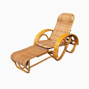 Chaise longue Mid-Century in vimini e bambù, anni '50
