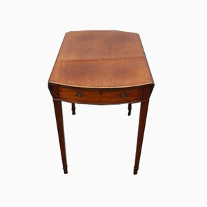 Mahogany Oval Drop Leaf Table with Inlay & Drawer, 1910s