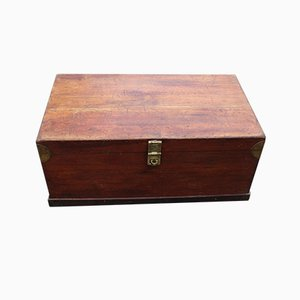 Antique Country Pine Trunk with Brass Corners, 1900s