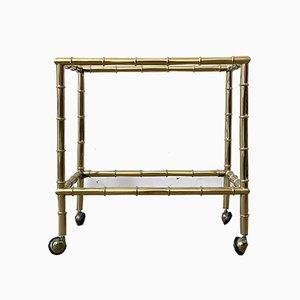 Französischer Mid-Century Bambus Rollwagen von Maison Baguès