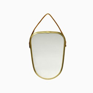 Small Mid-Century Brass Wall Mirror with Braided Hanging Strap