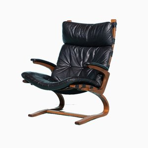 Vintage Scandinavian Plywood Lounge Chair with Leather Upholstery from Rybo Rykken & Co