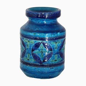 Vase in Rimini-Blue Glazed Ceramics by Aldo Londi for Bitossi, 1960s