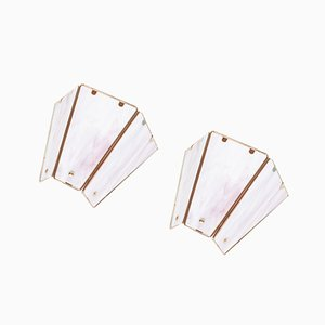 Mid-Century Wall Lights in Pink Milk Glass and Brass, Set of 2