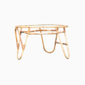 Vintage Triangle Coffee Table in Rattan & Glass from Rohé Noordwolde